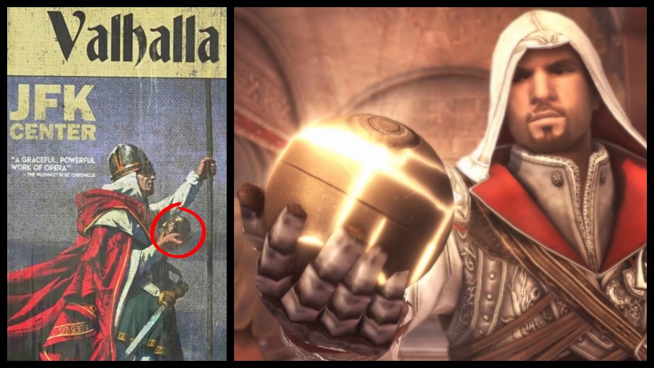 Posters found in The Divison 2's Potomac Event Center displays a Norse-like figure holding an Apple of Eden.